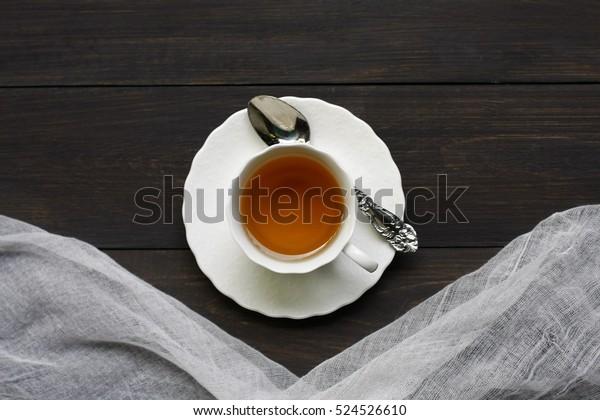 Closeup of cup of tea.Flat lay.still life with tea cup.(selective focus)