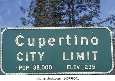 Close-up of Cupertino City Limit sign, Cupertino, Silicon Valley, California