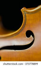A closeup of the curves of a violin.