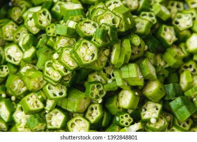 Closeup of cut okras. Okras are also known as ladies fingers.