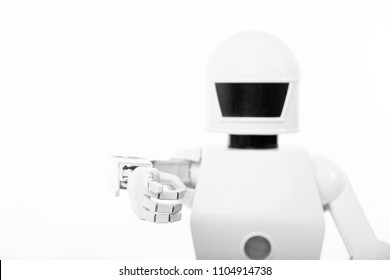 closeup of an cute autonomous service robot, isolated in front of a white background