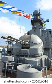 close-up - cutting and gun warship