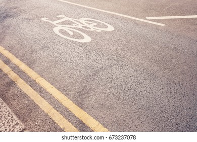 Close-Up of cycle lane in the road