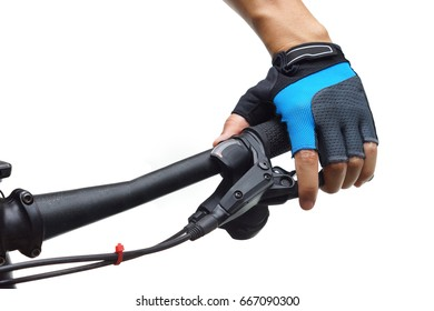 Closeup of cyclist holding a bicycle brake lever isolated