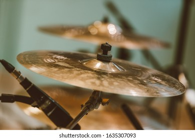 Closeup of cymbal for drums in studio