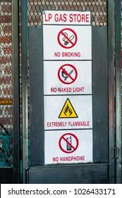 closeup of dangerous sign at LP Gas store