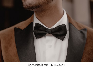 Closeup of dark bow tie with white shirt and brown suit on men's neck.