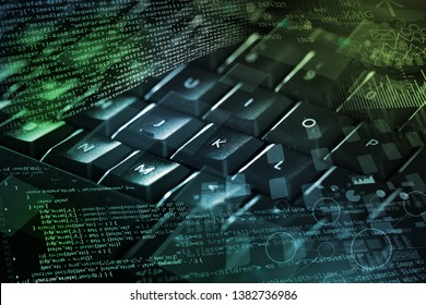 Close-up dark keyboard with coding and programing concept