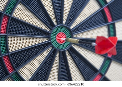 Closeup of a dartboard bullseye