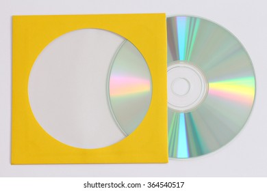 close-up of a data disc as DVD and Blue Ray CD in a yellow storage pouch
