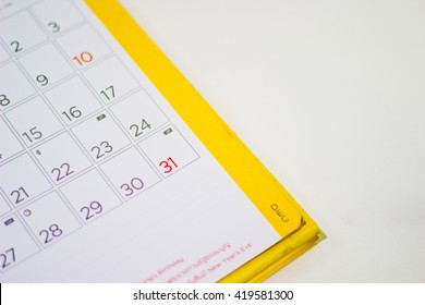 Closeup of dates on calendar page ,31 December 2016