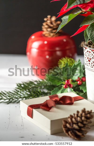 Closeup of decorated gift box with ribbon