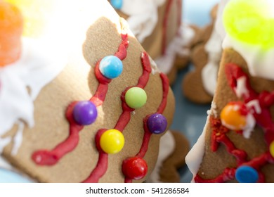 Closeup of decorated gingerbread