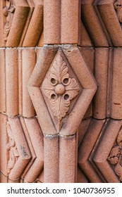 Close-up of decoration element at the entrance to Jedburgh Abbey dated back to 1138 and is in ruins nowadays in the Scottish Borders, Scotland.