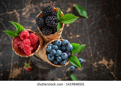 Closeup of delicious berry fruits in waffels as concept