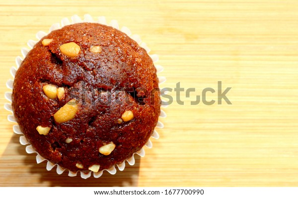 Closeup of a delicious brown muffin