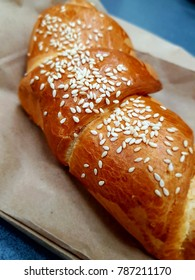 Closeup of delicious croissants in the kraft paper ideal for breakfast