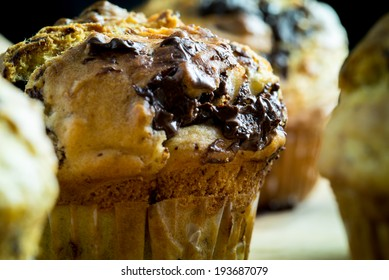 Closeup of delicious freshly baked banana chocolate muffin.