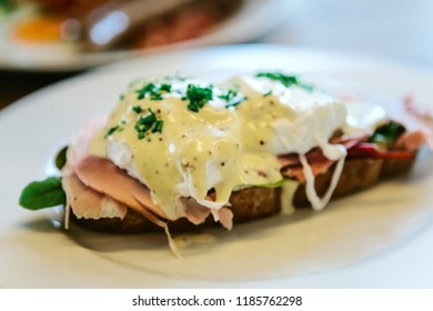 Close-up of a delicious and nutritious sandwich with poached egg.