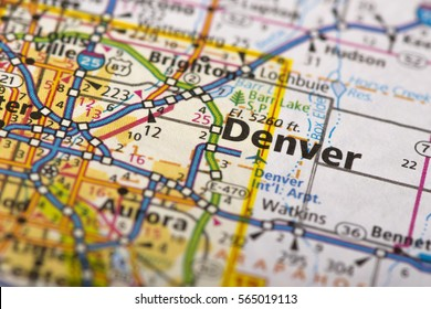 Closeup of Denver, Colorado on a political map of the United States.