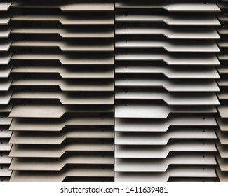 Closeup of Designed Louver Wall or Background, Architectural Ventilation Outdoor Blind