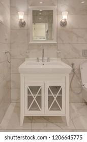 Close-up of designed washbasins in retro bathroom. Classic Style Bathroom Decoration.