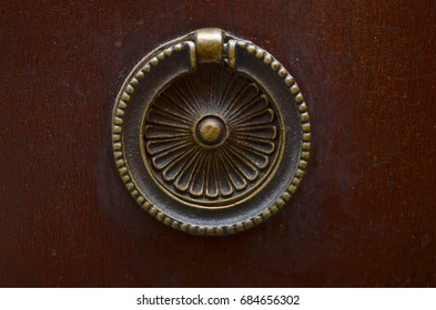 Close-up detail of antique dresser.