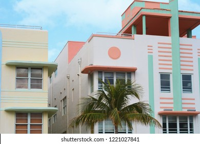 Close-up detail of Art Deco buildings in Miami, Florida