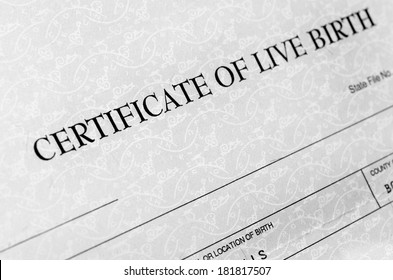 Closeup detail of birth certificate form to be filled out when baby is born