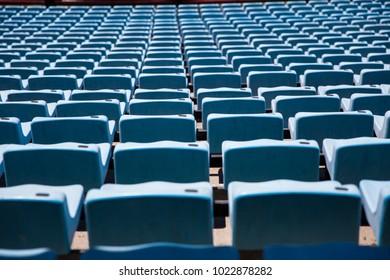 Closeup detail of the blue stadium seats