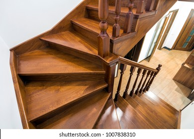 close up detail of brown wooden stairs - Wooden Stairs