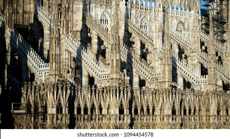 Close-up, detail of Duomo di Milano. The Duomo, the Cathedral of Santa Maria Nascente, is the most important example of Gothic architecture in Italy.