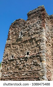 A close-up detail of the historic Colchester Castle in the market town of Colchester in Essex, UK.