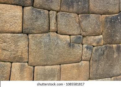 Close-up Detail of Inca Ashlar Wall Precise Stone Block Jointing, Machu Picchu, Peru