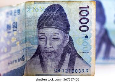 Close-up detail of Korean money - 1000 WON, background
