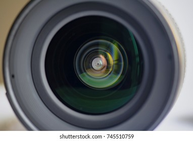 Close-up Detail of a lens, Camera lens and reflection