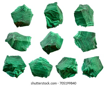 Closeup detail of Malachite, green mineral stone isolated on white background.