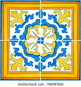 Closeup detail of old Portuguese glazed tiles.
