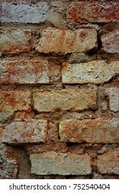 Closeup detail photograph of a crumbling pale coloured brick wall.
