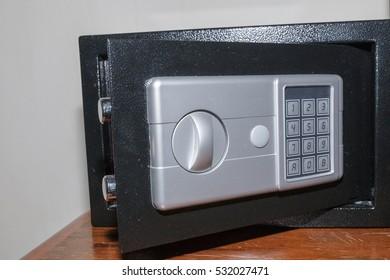 Closeup detail Safe for security asset