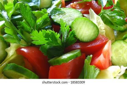 A closeup detail of a salad