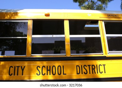 Closeup detail section of yellow school bus