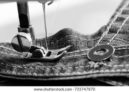 Closeup Detail Sewing Machine Black White Stock Photo Edit Now Gorgeous Jeans Machine White Sewing Machine
