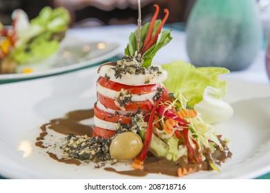 Closeup detail of a tomato and mozzarella a la carte appetizer meal