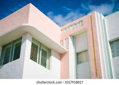 Close-up detail of typical colorful Art Deco architecture in Miami, Florida