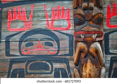 A closeup detail view of a long house in the historic native village of Ksan in northern British Columbia, Canada