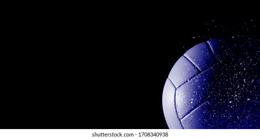 Closeup detail of volleyball ball texture background. Blue color filter