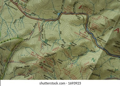 A closeup detailed picture of a topographic trail map