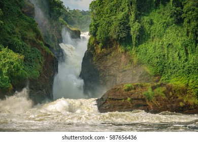Closeup detailed view of Murchison Falls main one in Nilo River, Uganda, bottom view