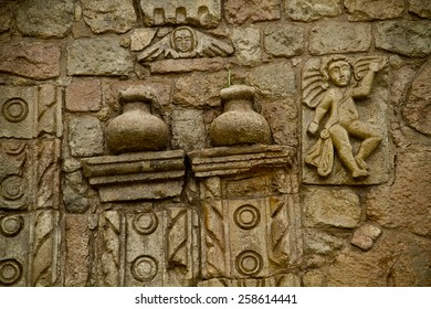 closeup details of the architecture art in Barbanera Church, the oldest catholic church of Ecuador, located in the province of Chimborazo